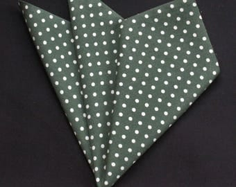 Hankie Pocket Square Handkerchief Dark Green POLKA DOT.Premium Cotton UK Made