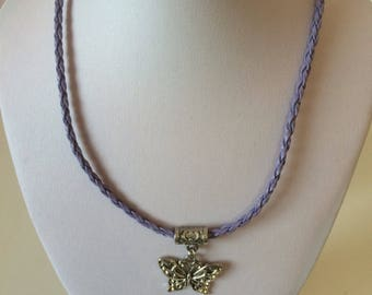 Butterfly Necklace, with a purple Plaited Rope