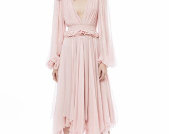 Silk chiffon gown with handmade embroidery