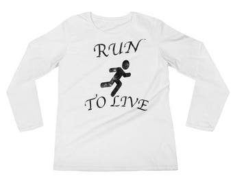 Run to Live Valentines cotton Ladies' Long Sleeve T-Shirt
