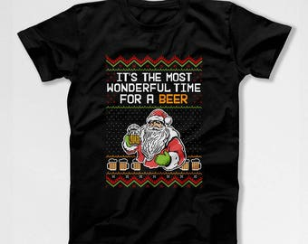Funny Christmas T Shirt Ugly Xmas Shirt Beer Lover Gift Ideas For Men Holiday Outfits Beer Drinker Merry Christmas Holiday Season TEP-566