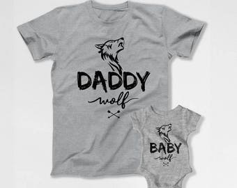 Father Son Matching Shirts Father And Baby Matching Family Outfits Daddy And Daughter T Shirts Baby Gifts Daddy Wolf Baby Wolf TEP-201-204