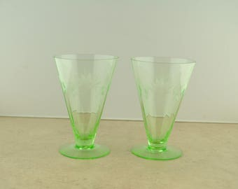 Pair of Green Depression Etched Glasses Parfait Cups