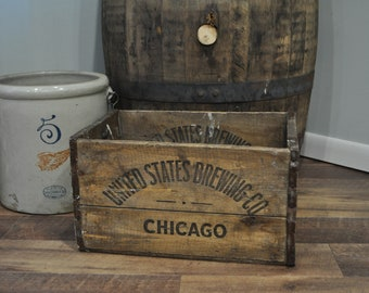 Vintage United States Brewing Co. Chicago Wood Crate