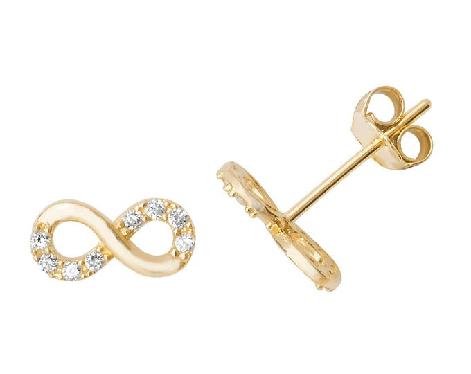 9ct Yellow Gold Pretty Infinity Cz Stud Earrings 7x3mm