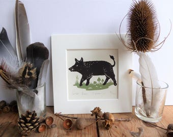 Wild Boar limited edition 2 colour linocut, mounted, unframed
