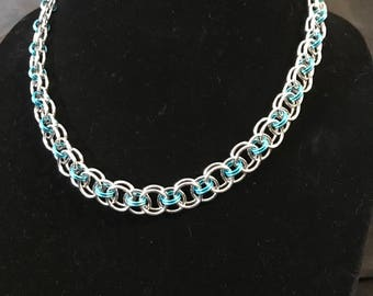 Sparkling Silver and Aqua Helm Waave Necklace