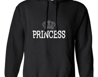 Princess with Crown Women Printed Hoodie Hooded Sweatshirt Designed Girlfriend Wife Gift Couple Goals