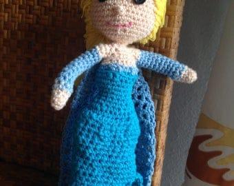 Princess Elsa amigurumi, Elsa Frozen amigurumi, Elsa doll, amigurumi doll, Disney doll, car doll, handmade doll, blue doll