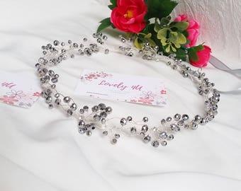 ELLA - Crystal Tiara, Headband Wedding Accessory, Silver Crystals, Bridal Crystal Headband, Bridal Hair Accessory, Silver Wedding Tiara