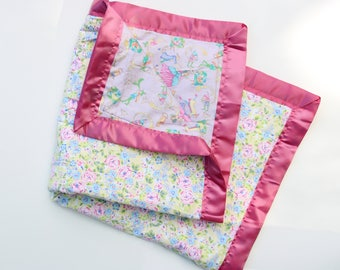 Fairy Tale print, Flower, Baby Blanket, Pink, Purple
