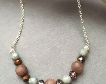 Agate and czech bead accent necklace