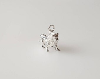 Lion Charm Pendant in .925 Sterling Silver