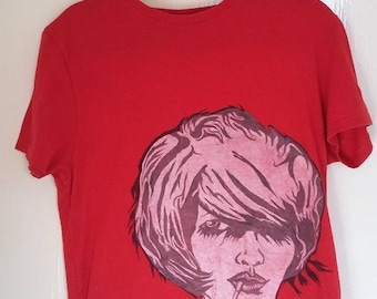 One-off stencil/handpainted t-shirt