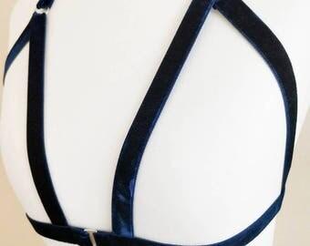Dark Blue Velvet Harness Bra, Elastic Lingerie, Body Cage