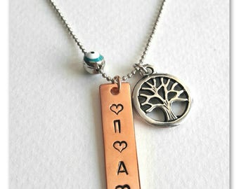 Custom kids name initial Name necklace for women Kids initial jewelry Mom necklace Hand stamped Mom's birthday gift from kids Sister's gift