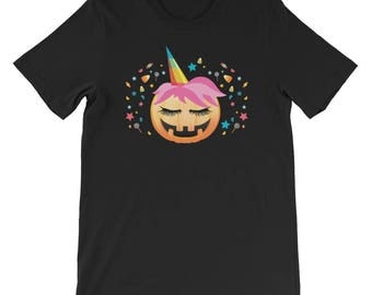Pumpkin Unicorn Shirt Cute Unicorn Halloween UNISEX T-Shirt Gift