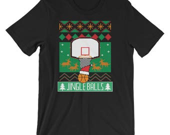 Basketball Ugly Christmas Sweater Shirt Jingle Balls Basketball UNISEX T-Shirt Christmas Gift for Basketball fan or player