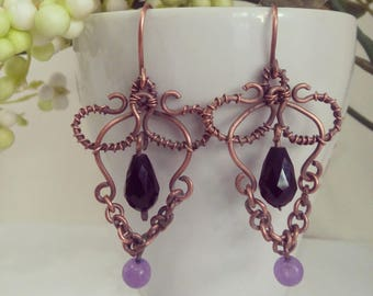 Antique copper earrings with amethyst and crystal