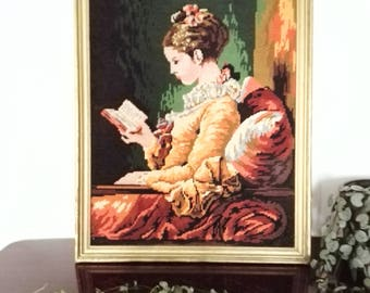 LARGE  Embroidery picture, young french girl reading, La Liseuse, vintage wooden gold frame, french vintage, small needle point vintage