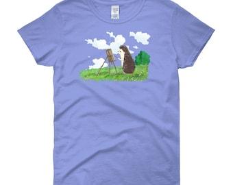 Hedgehog Painter Artful Short-Sleeve T-Shirt of Wonder - Women's short sleeve Hedgehog t-shirt by Urchin Wear