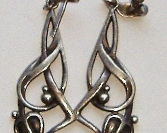 ART NOUVEAU SILVER vintage earrings 925 drop