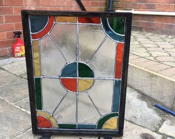 Stained glass screen in wooden frame. Handmade colour and style of glass and frame can be customised for individual taste