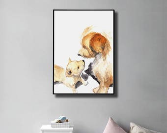 Year of Dog. Chinese New Year. Dog Lover. Gift. Dog & Puppy. Art Print. Instant Download. Digital Print. Home Decor. Nursery Decor. Wall Art