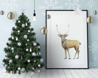 Deer Print, Woodland Animal Print, Wall Art, Watercolor Painting, Instant Download, Digital Print, Nursery Decor,  Home Decor, Printable Art