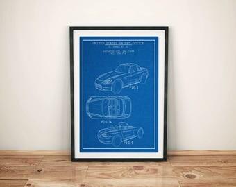 Sports Car Printables / Convertible / Car Wall Art / 90's Art / Teen Room Decor / Car Enthusiast