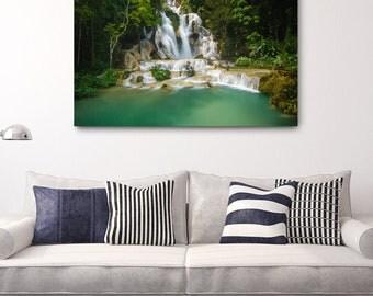 Laos Waterfall Canvas Wrap // Large Canvas Nature Photography Print, Asia Decor Wall Art, Fine Art Photo, Kuang Si Falls Office Decor