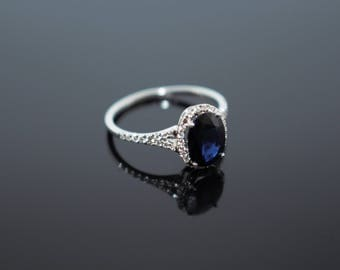 Blue Sapphire Diamond Engagement Ring, Blue Sapphire Diamond Gold Ring, Blue Sapphire Bridal Ring, Blue Stone Diamond Ring, Gift for Mom