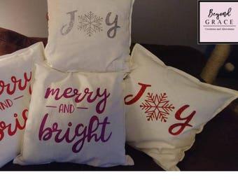 Christmas throw pillow, 20 x 20 or 16 x 16