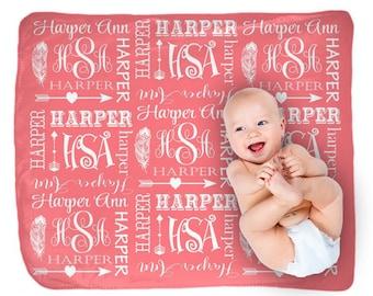 Tribal Baby Girl Blanket Pillow Set, Coral Nursery Blanket-Feather Arrow, Personalized Nursery-Girl Woodland Bedding-Baby Girl Shower Gift