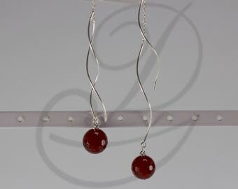 Long silver earrings with natural gemstones