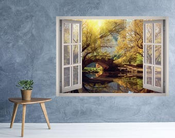 Central Park Window 3D Wall Decal Art Removable Wallpaper Central Park New York City Autumn Mural Sticker Vinyl Home Decor