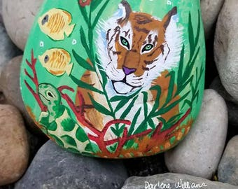 Tiger Underwater Hand Painted Stone, Rock ,Pebble, rock painting, turtle, tiger, home decor, life of Pi. Stone painting
