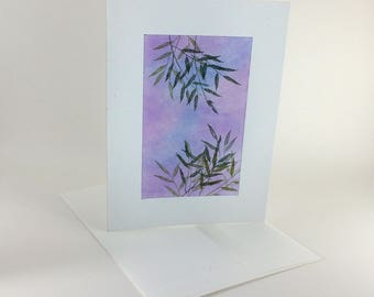 Graceful willow boughs at twilight blank card, individually handmade: A7, notecard, fine card, SKU BLA71022