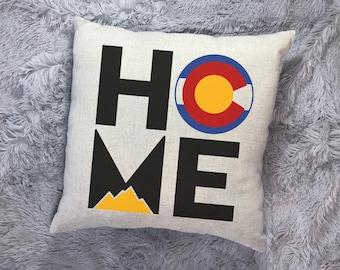 Colorado Home Pillow, Throw Pillow, Colorado Gift, Colorado State, Colorado Mountains, Housewarming Gift, Realtor Gift, New Home, CO Flag