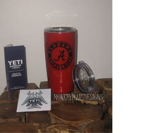 ALABAMA 20oz or 30oz Yeti Rambler Choose size and color,Personalized Yeti tumbler cup Silver stainless Black Red Roll Tide Crimson Tide