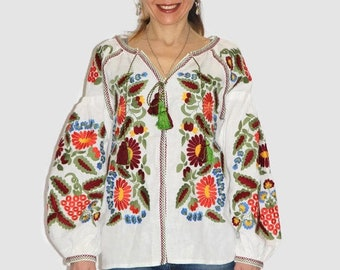 Ukrainian embroidered vyshyvanka blouse with grapevine embroidery bohemian clothing ethnic Ukraine boho blouses vishivanka embroidered shirt