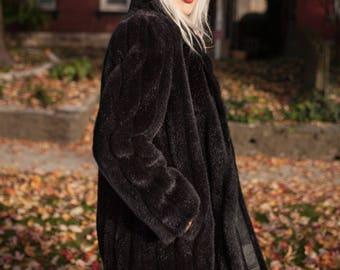 Vintage Long Black Faux Fur Coat