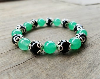 Green Aventurine Jade and  Black Onyx Agate  Gemstone