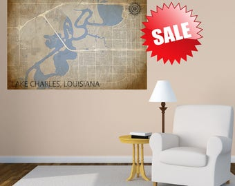 LAKE CHARLES Canvas Louisiana Map Art Vintage Lake Charles LA Vintage City Map Graphic Detailed Street Map Wall Art Decor La city Map Lake
