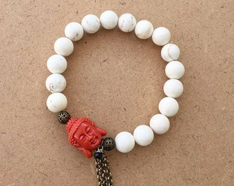 White Stone Bracelet with Buddha Head