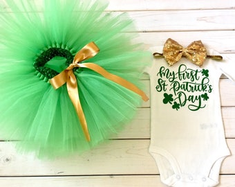 St Patrick's Day tutu outfit, green and gold St Patrick's Day outfit, girl tutu outfit, 1st St Patrick's Day outfit, Shamrock outfit, baby