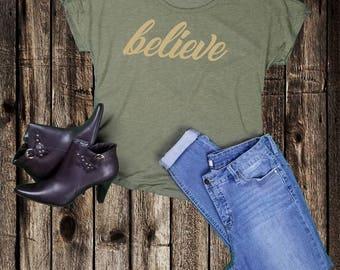 "Tee Shirt WOMEN'S T GRAPHIC  """"believe""  Dolman Sleeve Next Level tee"