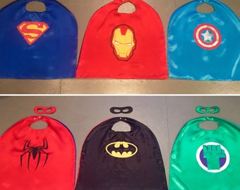 REVERSIBLE Toddler Superhero Costumes Super Hero Capes & Masks Kids Toys Disney birthday supplies, comic cartoon dress up gifts party favors