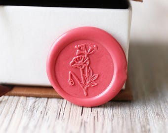 Poppy wax seal stamp kit, floral wedding wax seal, Christams gift,party wax seal stamp set, invitation wax stamp