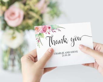 Thank You Card Editable Template, Printable Wedding Card Template, Bohemian Watercolor Floral Thank You Card, Instant Download, W03